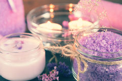 Spa products. Violet purple concept. Stock Image