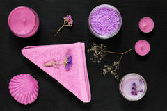 Spa products. Violet purple concept. royalty free stock image