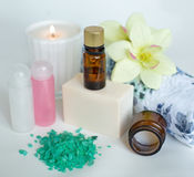 Spa products on white background Royalty Free Stock Photos