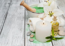 Spa products with white lilies Stock Photo