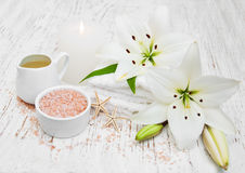 Spa products with white lily Royalty Free Stock Photography