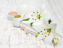 Spa products with white lily Stock Photo