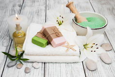 Spa products with white lily Royalty Free Stock Photo