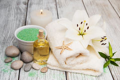 Spa products with white lily Stock Image