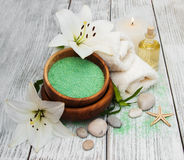 Spa products with white lily Stock Photos