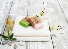 Spa products with white lily Royalty Free Stock Photos