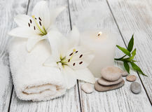 Spa products with white lily Stock Photography