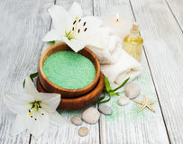 Spa products with white lily Stock Images