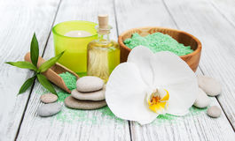 Spa products and white orchids Royalty Free Stock Image