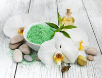 Spa products and white orchids Stock Photography