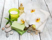 Spa products and white orchids Stock Images
