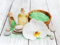 Spa products and white orchids Stock Photos
