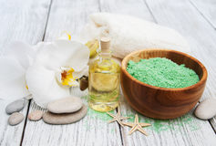 Spa products and white orchids Royalty Free Stock Photography