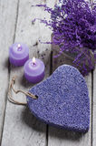 SPA Pumice and candles closeup Royalty Free Stock Photo