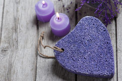 SPA Pumice and candles closeup Stock Images