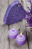 SPA Pumice and candles closeup Stock Photography