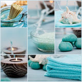 Spa purity collage. Spa collage series. Spa collage made of five images. Floral water, bath salt, candles and towel Stock Photo