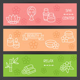 Spa and recreation banners with icons in linear Royalty Free Stock Photography