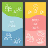 Spa and recreation banners with icons in linear Royalty Free Stock Photo