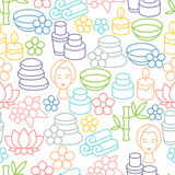 Spa and recreation seamless pattern with icons in Royalty Free Stock Image
