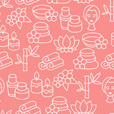 Spa and recreation seamless pattern with icons in Stock Images