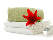 Spa with red lily Royalty Free Stock Images