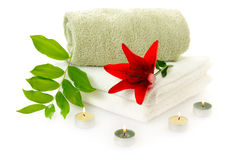 Spa with red lily Royalty Free Stock Photos