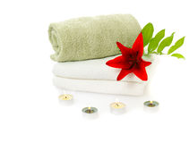 Spa with red lily Royalty Free Stock Photo