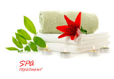 Spa with red lily Stock Image