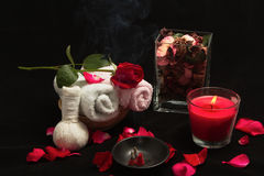 Spa red rose setting with thai incense Stock Image