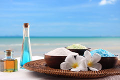Spa. Relax with spa on the beach Royalty Free Stock Image