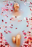 Spa Relax Flower Bath. Woman Health, Beauty Treatment, Body Care. Spa Relax In Flower Bath. Woman Health And Beauty. Closeup Beautiful Sexy Girl Bathing With Stock Image