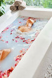 Spa Relax Flower Bath. Woman Health, Beauty Treatment, Body Care Stock Photos