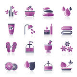 Spa and relax objects icons. Vector icon set Stock Image
