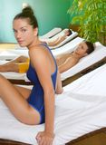Spa relax room hammock row beautiful girl Stock Image