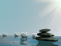 Spa relax stone zen water lily Stock Photo