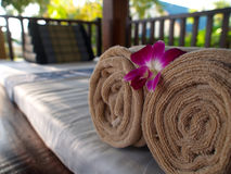 Spa Relaxation Bed. Tropical relaxation bed settings for a luxury spa Royalty Free Stock Images