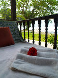 Spa Relaxation Bed. Tropical relaxation bed settings for a luxury spa Stock Images