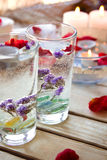 Spa relaxation with candles and roses Stock Image