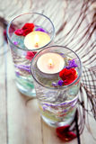 Spa relaxation with candles and roses Royalty Free Stock Images