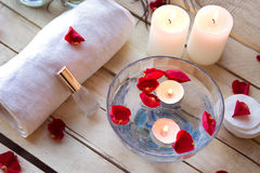 Spa relaxation with candles and roses Royalty Free Stock Photo