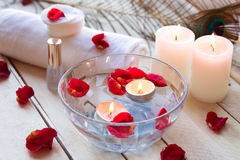 Spa relaxation with candles and roses Stock Images