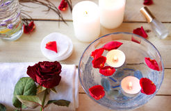 Spa relaxation with candles and roses Royalty Free Stock Photos