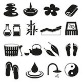 Spa and relaxation simple black icons set eps10 Royalty Free Stock Photo