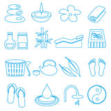 Spa and relaxation simple blue outline icons set eps10 Stock Photography