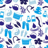 Spa and relaxation simple blue seamless pattern eps10 Stock Photos