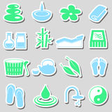 Spa and relaxation simple color stickers set eps10 Royalty Free Stock Image