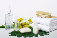 Spa and relaxation tools. With flowers and leaves stock photo