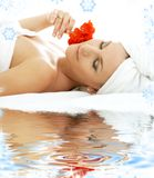 Spa relaxation on white sand Royalty Free Stock Photography