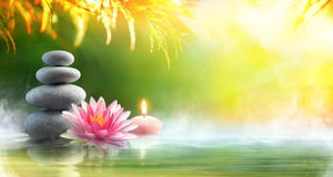 Free Spa - Relaxation With Massage Stones And Waterlily Stock Photography - 90928842